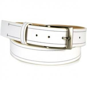 Michael Toschi Onda Calfskin Belt White / Black Stitch Image