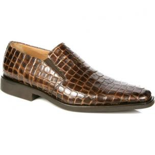 Michael Toschi Rocco Crocodile Print Loafers Brown Image