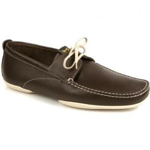Michael Toschi Vela Boat Shoes Chocolate / White Image