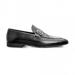 Moreschi 042174ENE Calfskin and Kangaroo Leather Loafers Black (SPECIAL ORDER) Image