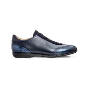 Moreschi 042323E Hammered calfskin Leather sneakers Dark Blue (SPECIAL ORDER) Image