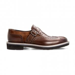 Moreschi 042498A Multi-Leather Monk Shoes Dark Brown Image