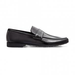 Moreschi 42320NE Buffalo and Kangaroo Leather Loafers Black Image