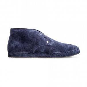 Moreschi 8001101 Suede Leather ankle boots Dark Blue Image
