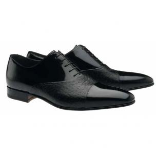 Moreschi Digione Peccary & Calfskin Cap Toe Shoes Black Image