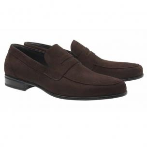 Moreschi Graz Suede Penny Loafers Dark Brown Image