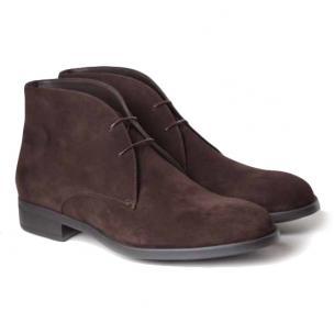 Moreschi Guildford Calfskin Suede Boots Dark Brown Image