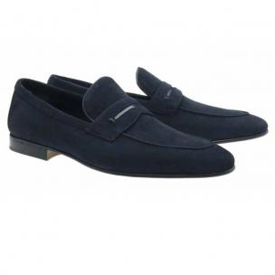 Moreschi Haiti Suede Penny Loafers Navy Image