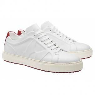 Moreschi Kos Calfskin & Nubuck Sneakers White / Red Image