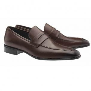 Moreschi Liegi Calfskin Apron Toe Loafers Brown Image