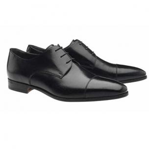 Moreschi Lipsia Buffalo Leather Cap Toe Shoes Black Image
