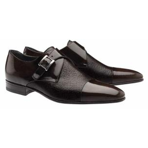 Moreschi Nancy Peccary & Calfskin Monk Strap Shoes Brown Image