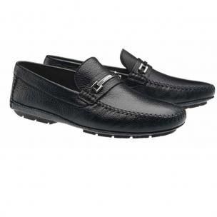 Moreschi Nassau Deerskin Driving Loafers Black Image