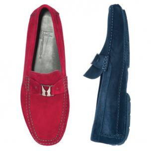 Moreschi Suede Driving Loafers Navy Image