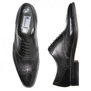 Moreschi Tallin Calfskin & Grained Calfskin Wingtip Oxfords Black Image