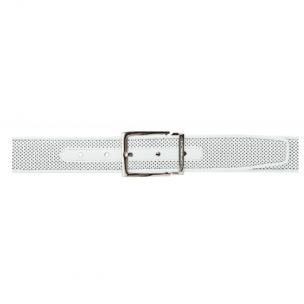 Moreschi Tobago Perforated Lambskin Belt White Image