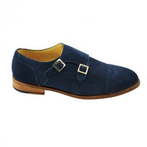 Nettleton Sarasota Suede Double Monk Strap Goodyear Welted Shoes Blue Image