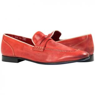 Paolo Shoes Aaron Nappa Penny Loafers Red Image
