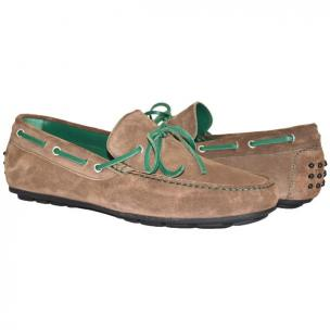 Paolo Shoes Armando Suede Driving Shoes Taupe / Green Image