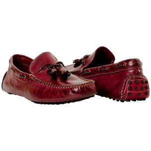 Paolo Shoes Blake Tasseled Driving Loafers Maroon Image