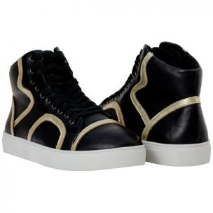 Paolo Shoes Bogart Patent Leather Sneakers Black / Gold Image