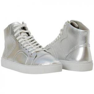 Paolo Shoes Bogart Patent Leather Sneakers Silver Image