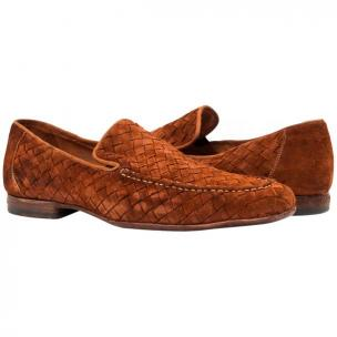 Paolo Shoes Woven Suede Loafers Dark Rust Image