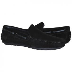 Paolo Shoes Carlito Suede Driving Shoes Black Image