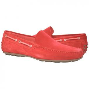 Paolo Shoes Carlito Suede Driving Shoes Red Image