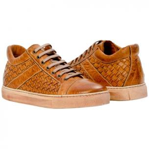 Paolo Shoes Carlo Woven Sneakers Brick Image