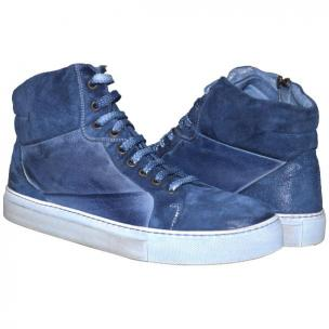 Paolo Shoes Errol Suede High Top Sneakers Blue Image