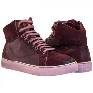 Paolo Shoes Errol Suede High Top Sneakers Oxblood Image
