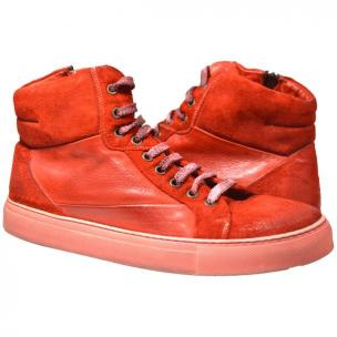 Paolo Shoes Errol Suede High Top Sneakers Red Image