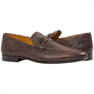Paolo Shoes Grant Textured Penny Loafers Brown Image