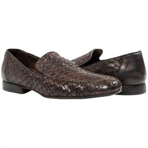 Paolo Shoes Jerome Nappa Woven Loafers Dark Brown Image