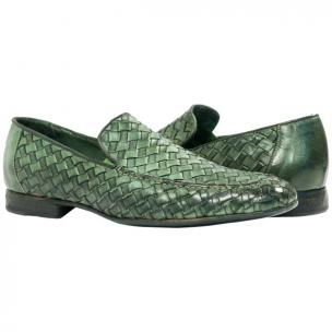 Paolo Shoes Jerome Nappa Woven Loafers Green Image