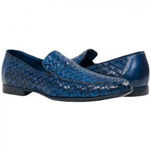 Paolo Shoes Jerome Nappa Woven Loafers Indigo Image