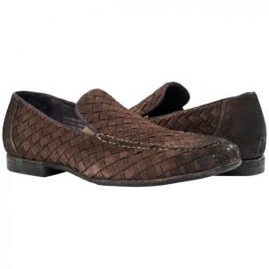 Paolo Shoes Jerome Suede Woven Loafers Dark Gray Image