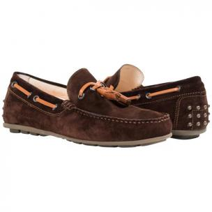 Paolo Shoes Matthew Suede Tasseled Driving Shoes Chocolate Image