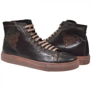 Paolo Shoes Sierra High Top Sneakers Dark Brown Image