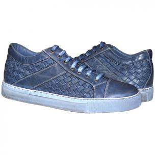Paolo Shoes Tyler Woven Sneakers Pacific Blue Image