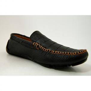 Patrick Gibbons Handmade Crocodile Driving Shoes Black / Cognac Stitch Image