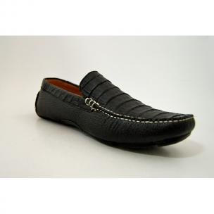 Patrick Gibbons Handmade Crocodile Driving Shoes Black / Beige Stitch Image