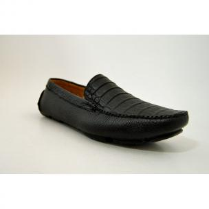 Patrick Gibbons Handmade Crocodile Driving Shoes Black Image