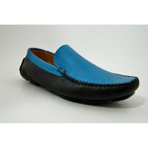 Patrick Gibbons Handmade Lizard Driving Shoes Blue / Black Image