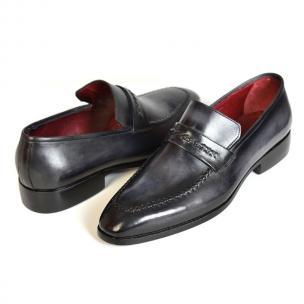 Paul Parkman Apron Toe Strap Loafers Gray / Black Image