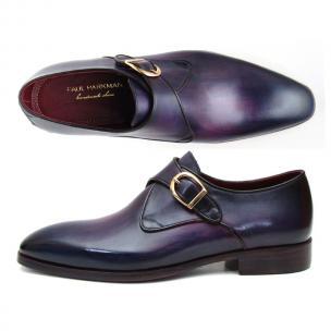 Paul Parkman Calfskin Monk Strap Shoes Purple Image