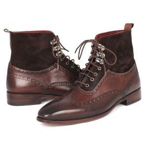 Paul Parkman Calfskin & Suede Wingtip Boots Brown Image