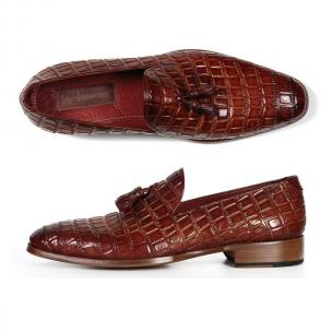 Paul Parkman Crocodile Embossed Tassel Loafers Brown Image