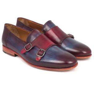 Paul Parkman Double Monk Strap Shoes Bordeaux / Navy Image